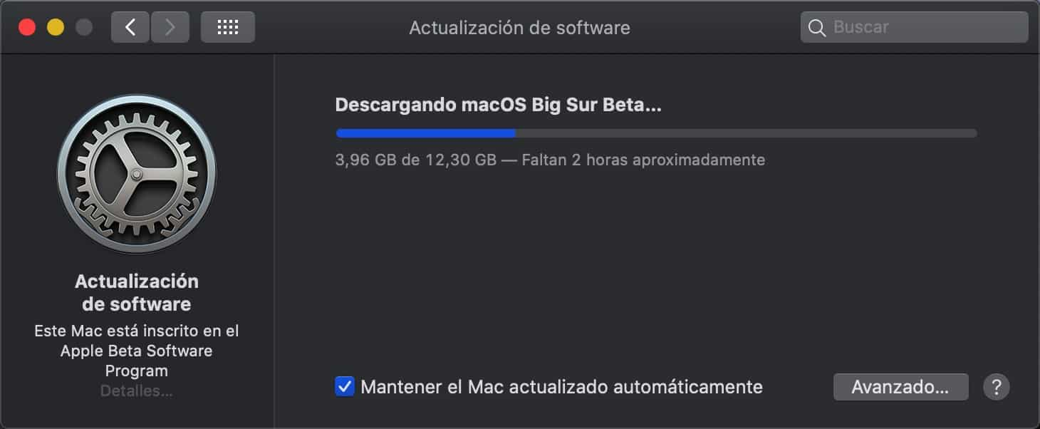 Descargando macOS Big Sur Beta Pública