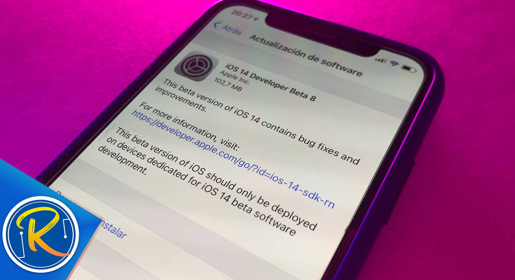 Actualización iOS 14 Developer Beta 8 desde iPhone